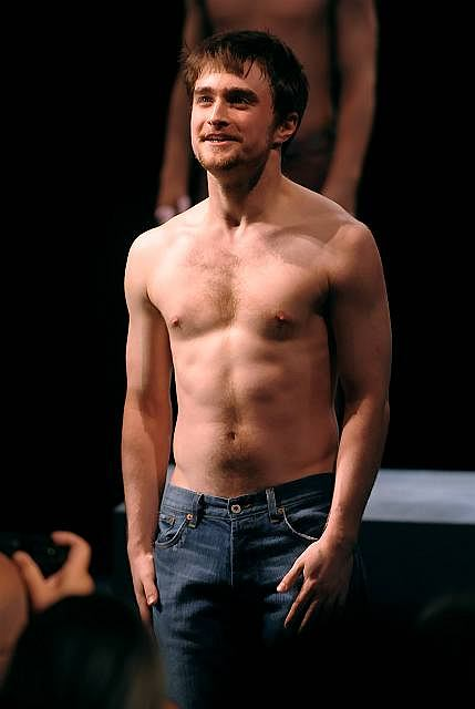 """Actor Daniel Radcliffe at the curtain call for opening night of """"Equus"""" on Broadway in New York on Thursday, Sept. 25, 2008.  (AP Photo/Peter Kramer)"""