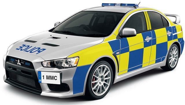 Policyjny Mitsubishi Lancer Evo