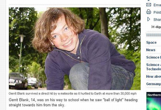 Gerrit Blank nie boi się meteorytów fot. telegraph.co.uk