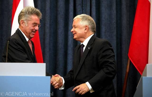 Lech Kaczyński i Heinz Fischer
