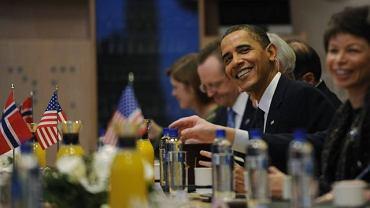 Barack Obama na spotkaniu z norweskim premierem w Oslo