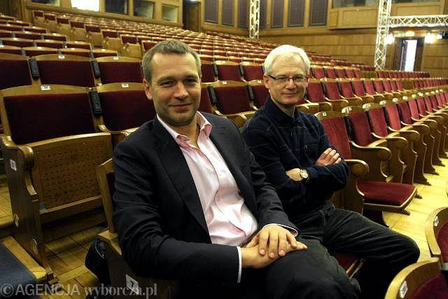 Michał Żebrowski i Eugeniusz Korin w sali Teatru 6. Piętro