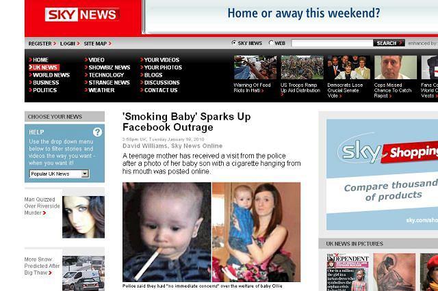 Matka opublikowała zdjęcie dziecka z papierosem. Fot. za news.sky.com