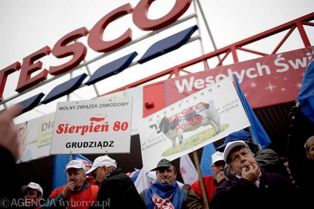 Pikieta pracowników Tesco, Gdynia 2009 r.