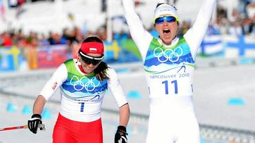 Vancouver 2010. Justyna Kowalczyk na mecie biegu łączonego