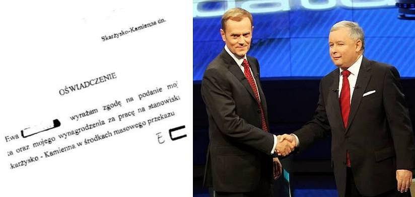 Oświadczenie pani Ewy i debata Tusk - Kaczyński z roku 2007
