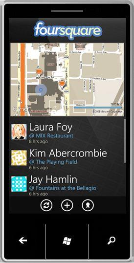 Windows Phone 7 Foursquare