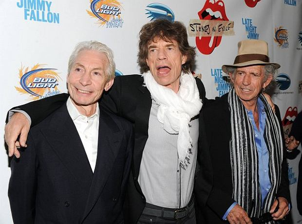 From left, musicians Charlie Watts, Mick Jagger and Keith Richards of The Rolling Stones attend a special screening of their new documentary