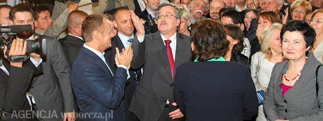 W sztabie Bronisława Komorowskiego podczas ogłaszania sondażowych wyników wyborów prezydenckich