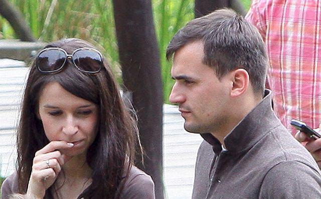 Marta Kaczyńska i Marcin Dubieniecki na pikniku rodzinnym w lesie niedaleko Wejherowa.