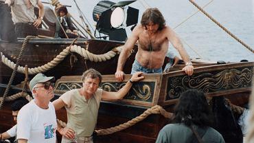 1986 r. Na planie 'Piratów', od lewej: Witold Sobociński, Andrzej Kostenko i Roman Polański