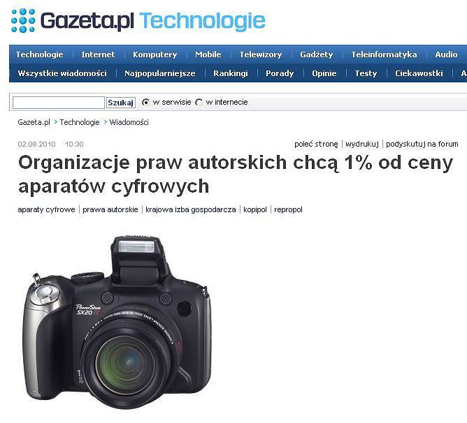Organizacje praw autorskich chcą 1 proc od ceny aparatów cyfrowych