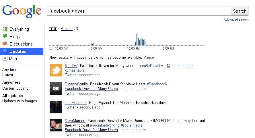 Google real time search - Facebook is down