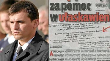Adwokat Marcin Dubieniecki, zięć prezydenta Kaczyńskiego, wziął pieniądze za pomoc w ułaskawieniu