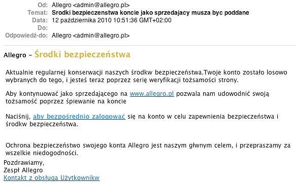 Fałszywy e-mail wyłudzający dane użytkowników Allegro