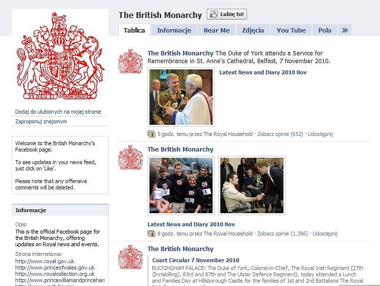 Profil rodziny królewskiej na Facebooku