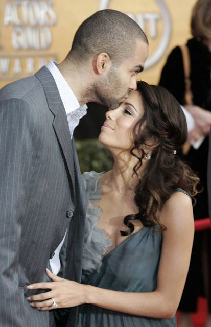 FILE - In this Jan. 28, 2007 file photo, Eva Longoria, right, and Tony Parker arrive at the 13th Annual Screen Actors Guild Awards in Los Angeles. Less than four years after a storybook wedding in Paris, Eva Longoria filed court papers Wednesday, Nov. 17, 2010, to divorce basketball star Tony Parker, citing irreconcilable differences. (AP Photo/Reed Saxon, file)