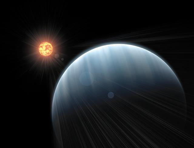 Tak naukowcy wyobrażają sobie planetę GJ1214b okrążającą swoją macierzystą gwiazdę - czerwonego karła