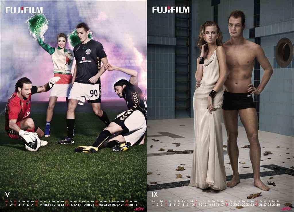 Nowy kalendarz FUJIFILM z udziałem polskich sportowców, na zdjęciu: Radosław Majdan, Artur Sobiech, Bruno Coutinho (maj), Paweł Korzeniowski (wrzesień)