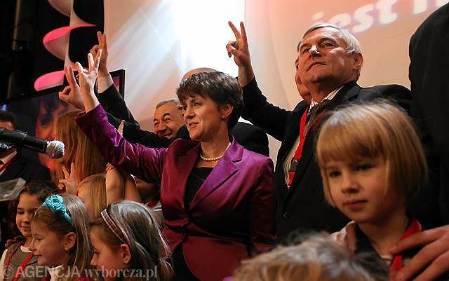 Joanna Kluzik-Rostkowska i sobowtór Jarosława Kaczyńskiego podczas kongresu PJN