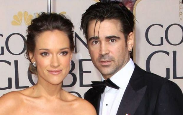 ALICJA BACHLEDA & COLIN FARRELL  67th Golden Globe Awards held Beverly Hilton, Beverly Hills, California  17th January 2010.  arrivals globes full length strapless cleavage navy blue dress hand on hip gown black tuxedo tux bow tie couple silver clutch bag bracelet   CAP/ADM/KB  ?Kevan Brooks/Admedia/Capital Pictures