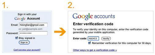 Dwustopniowe logowanie do kont Google.