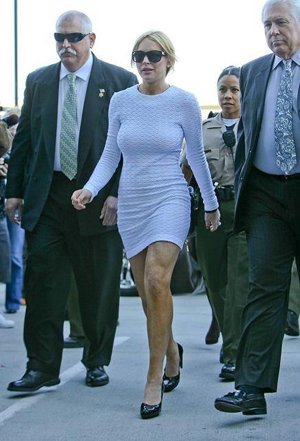 Lindsay Lohan w białej sukience