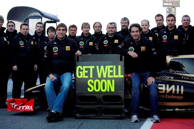 Życzenia Lotus Renault dla Roberta Kubicy