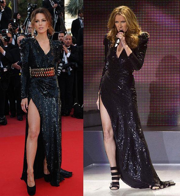 Która wygląda lepiej w sukni Balmain: Kate Beckinsale czy Celine Dion?