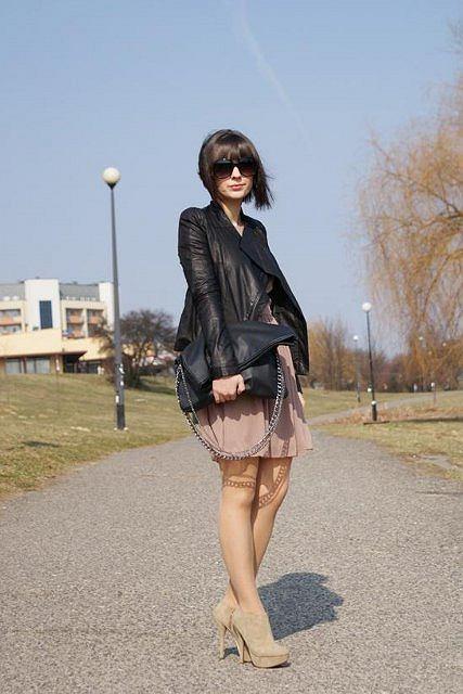 kurtka - romwe, sukienka - love, buty - kurtka - romwe, sukienka - love, buty - stylowebuty, torba - f&f, okulary - h&m