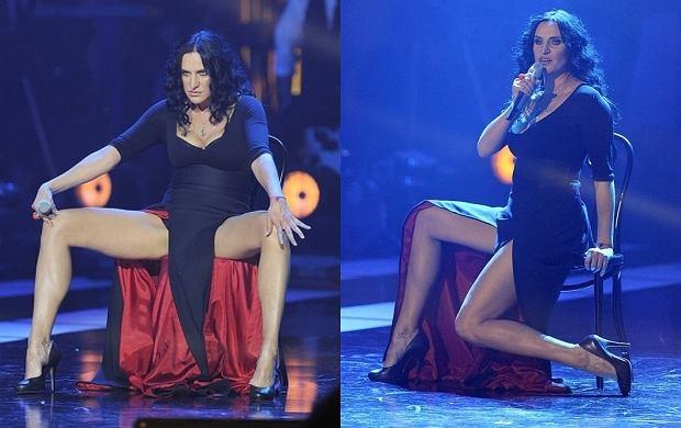 Na Top Trendach Kayah dała czadu. Na koncercie wystąpiła w trzech odsłonach. W czarnej sukni wyzywająco wyginała się na krześle.