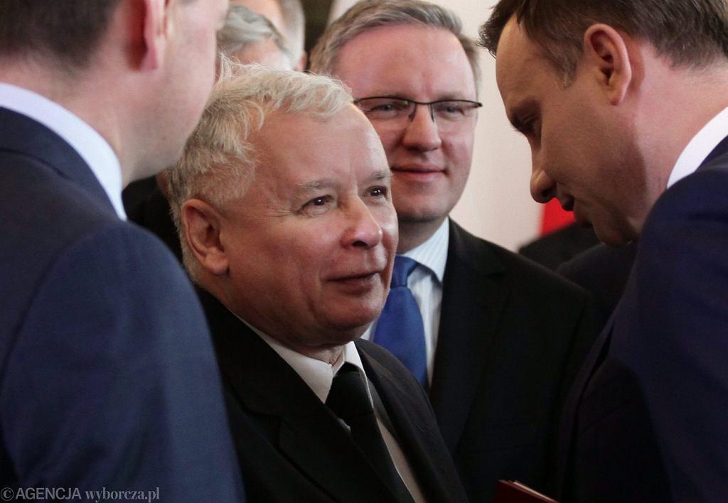 Prezydent RP Andrzej Duda, prezes PiS Jarosław Kaczyński i Krzysztof Szczerski