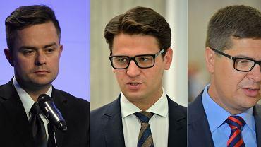 Posłowie: Adam Hofman, Mariusz Kamiński i Adam Rogacki