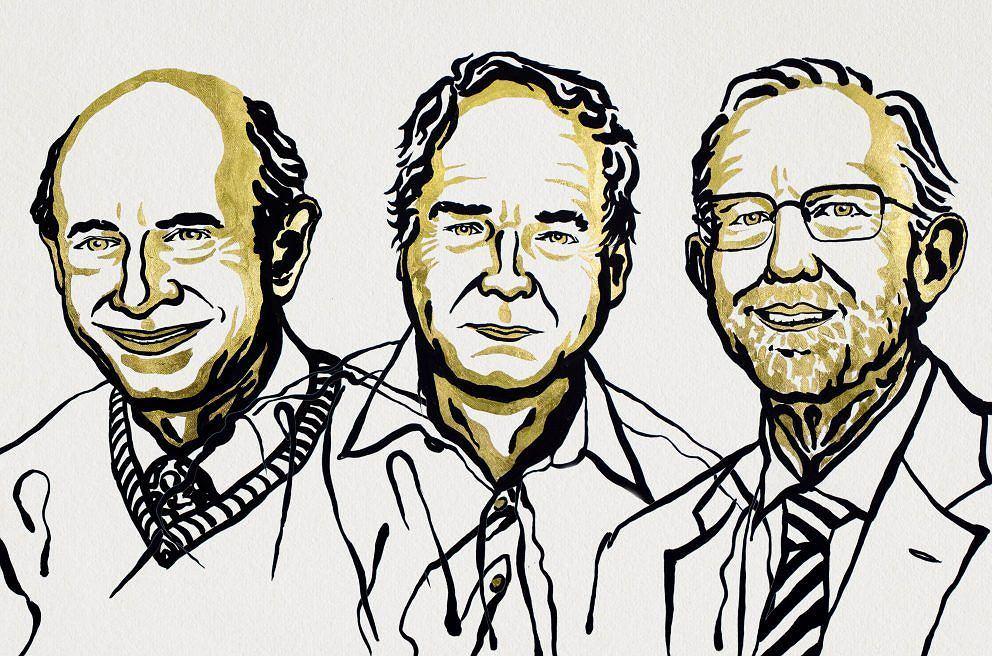Na rysunku: Harvey J. Alter (USA), Michael Houghton (Wielka Brytania), Charles M. Rice (USA), laureaci Nagrody Nobla w dziedzinie fizjologii lub medycyny,