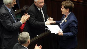 Jarosław Kaczyński i Beata Szydło na 18. posiedzeniu Sejmu RP