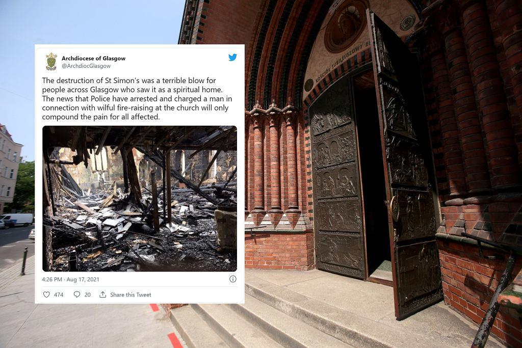 Spalony kościół w Glasgow