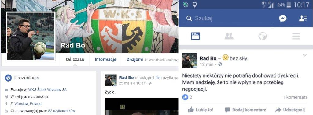 Screen z Facebooka dyrektora marketingu Śląska. Z prawej strony skasowany później wpis potwierdzający prowadzone negocjacje w sprawie sprzedaży klubu
