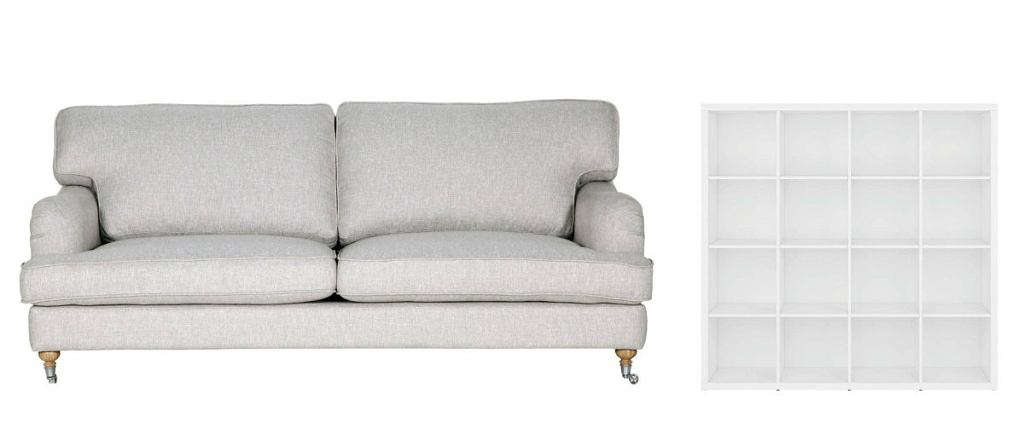 Sofa tapicerowana tkaniną, dł. 205 cm, wzór sits.eu. Regał Nepo (38,5 x 154 x 149,5 cm), 559 zł, Black Red White