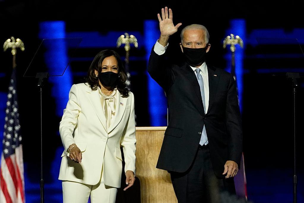 Kamala Harris i Joe Biden wspólnie świętują wyborcze zwycięstwo, Wilmington w stanie Delaware, 7 listopada 2020 r.