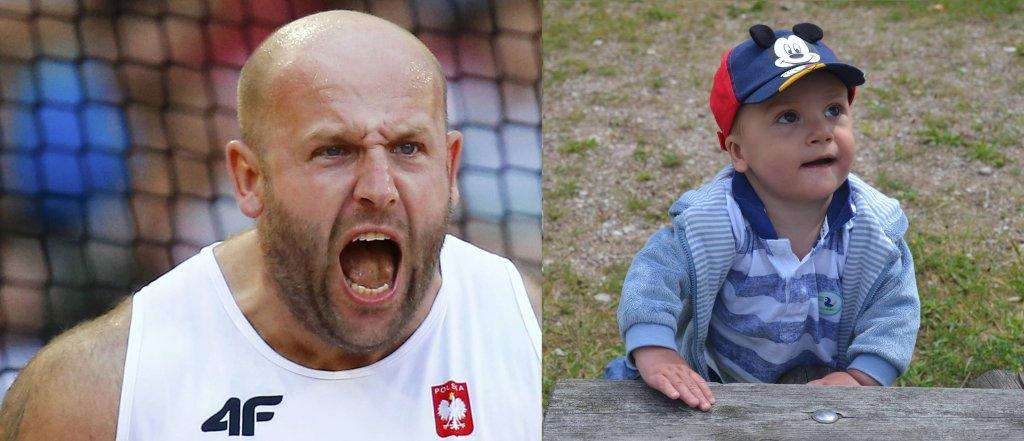 Tymek i Piotr Małachowski