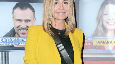 Małgorzata Rozenek w żółtym garniturze zara