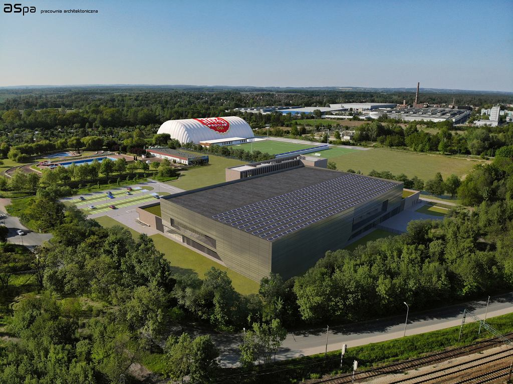 Wizualizacja kompleksu sportowego na Kłokoczycach. Na pierwszym planie nowa hala