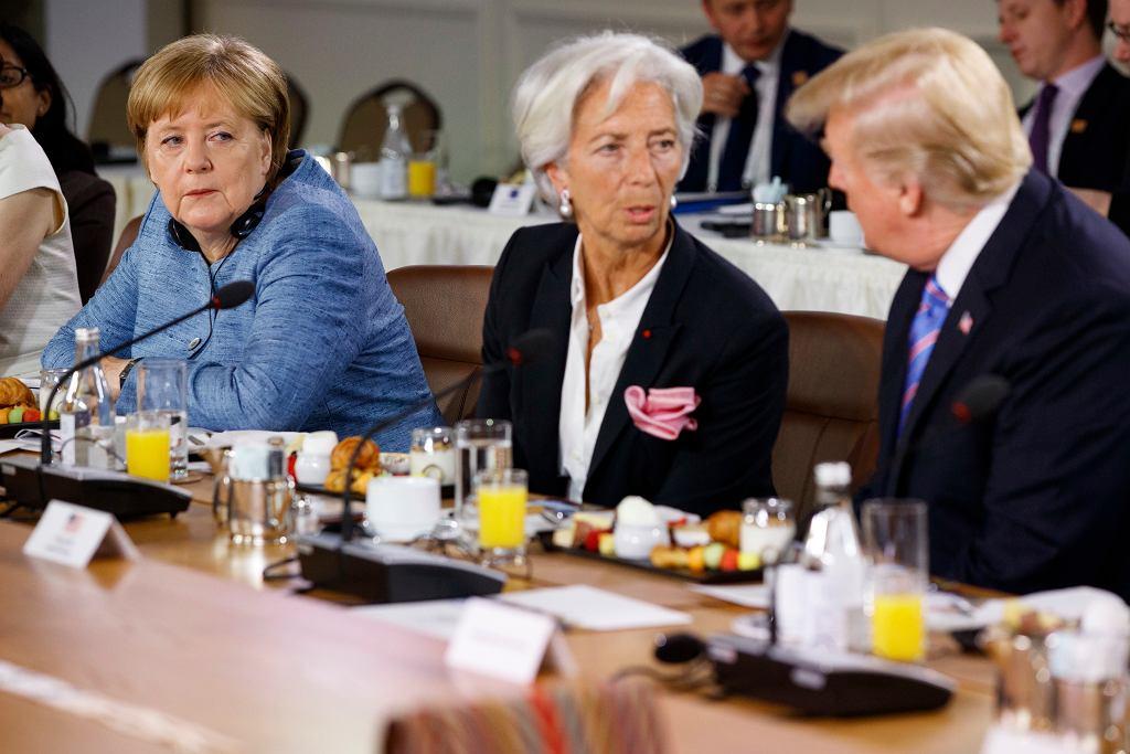 Angela Merkel, Christine Lagarde i Donald Trump podczas spotkania G7 w Kanadzie