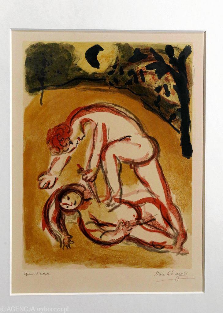 Litografia Marca Chagalla 'Kain i Abel' ze zbiorów Muzeum Chagalla w Nicei. Wystawa 'Krew łączy i dzieli' w Muzeum Historii Żydów Polskich Polin.  / KUBA ATYS