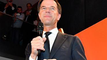 Premier Mark Rutte tuż po ogłoszeniu wstępnych wyników wyborów w Holandii.