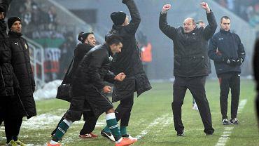 Radość wrocławskiej ekipy po wygranej z Legią