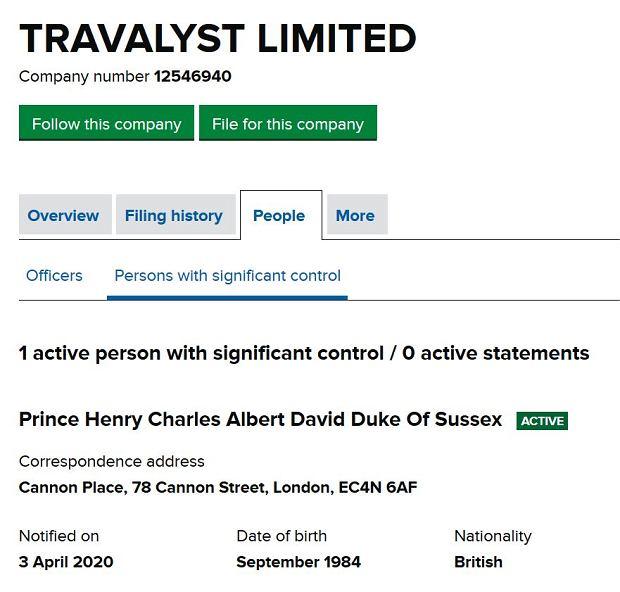 Dane księcia Harry'ego w fundacji Travalyst Limited