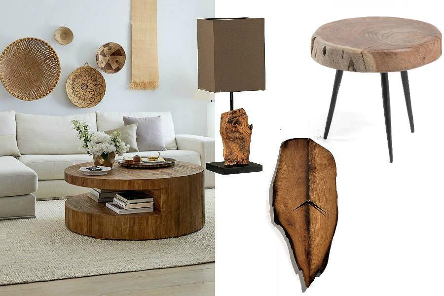 drewniane dodatki do salonu