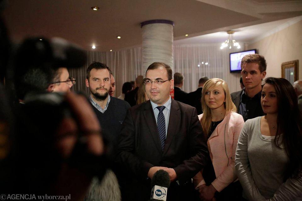 Poseł PiS Andrzej Jaworski w sztabie wyborczym partii w Gdańsku, 16 listopada 2014 r. W tym roku zrezygnował  z mandatu posła