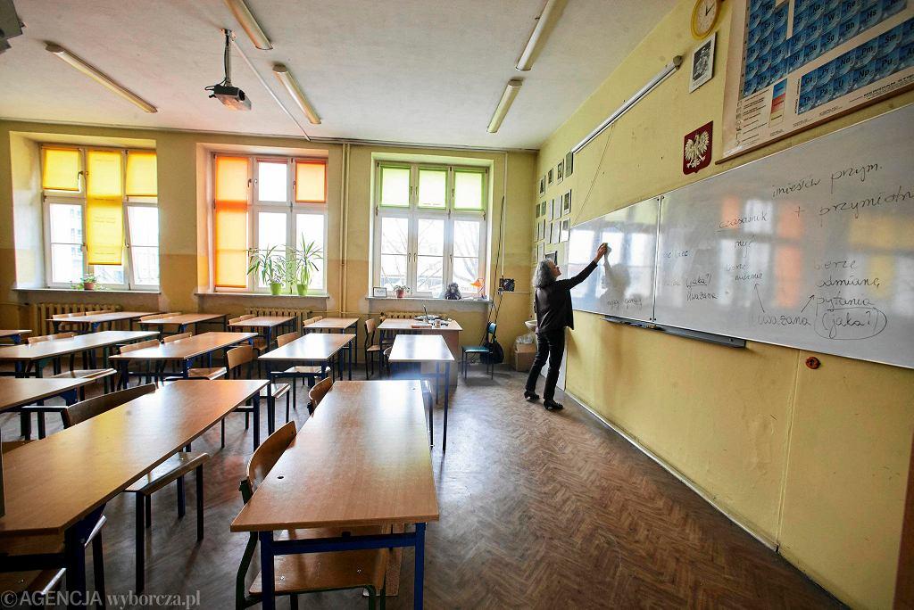Gimnazjum nr 1 w Łodzi - rodzice solidaryzują się z nauczycielami i nie posyłają dzieci do szkoły, 10 marca 2017 r.